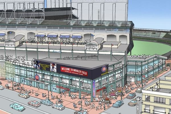 A rendering from the Chicago Cubs showing a proposed view of Wrigley Field's back. (source Chicago Cubs)