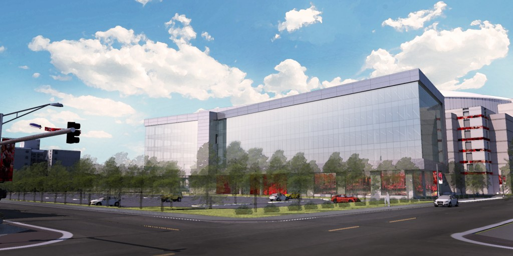A rendering of the United Center expansion's north-east view