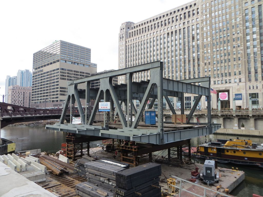 The Wells Street Bridge under reconstruction in 2013 (Wikipedia)