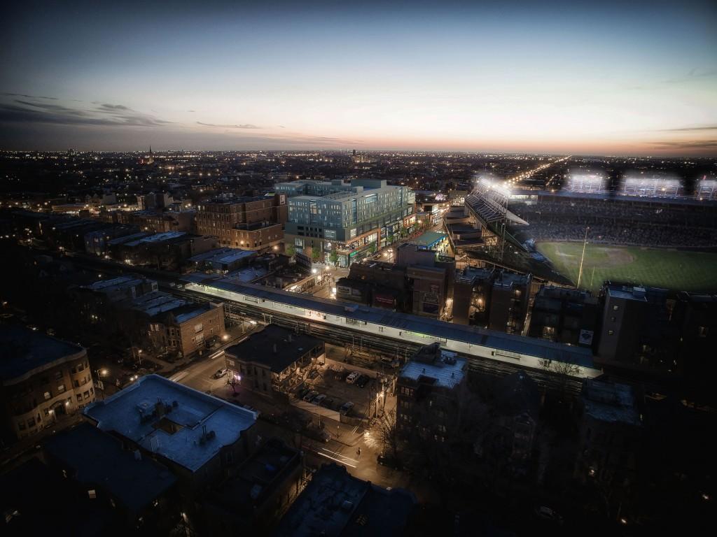 A&C retail aerial dusk