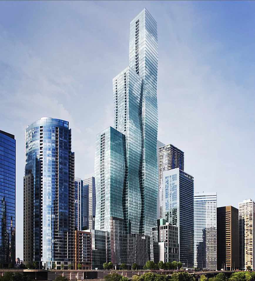 Rendering of Magellan Development Group and Beijing-based Wanda Group's 95-story Vista Tower, designed by Chicago Architect Jeanne Gang. | Magellan Development Group