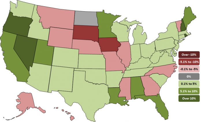 State employment map AGCA
