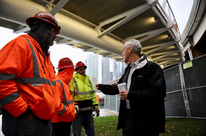 rahm emanuel at navy pier flyover
