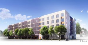 Affordable housing development under construction in Maywood