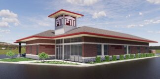 Design rendering of Farmers and Merchants National Bank location in O'Fallon, Ill. Courtesy of Michael E. Bauer Architecture.